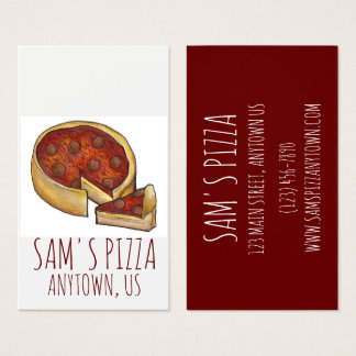 Chicago Deep Dish Pepperoni Pizza Shop Pizzeria Business Card