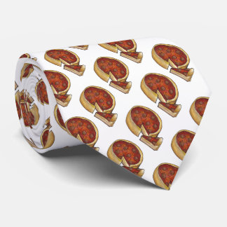 Chicago Deep Dish Pepperoni Pizza Slice Foodie Tie