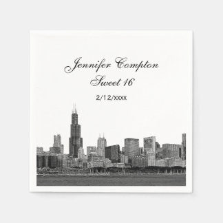 Chicago Etched Look Skyline Sweet 16 Paper Napkin