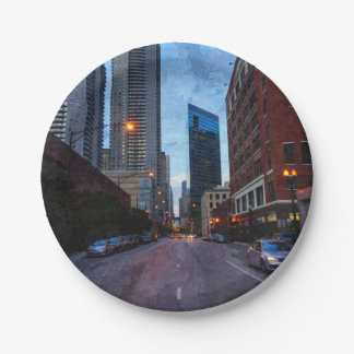 Chicago Evening Drive 7 Inch Paper Plate