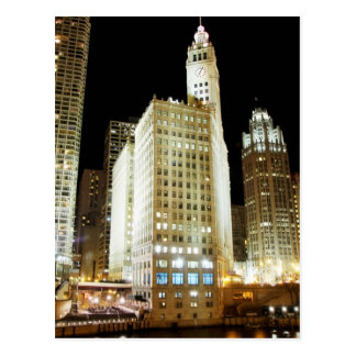 Chicago famous landmark at night postcard