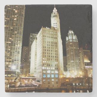Chicago famous landmark at night stone beverage coaster