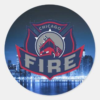 Chicago Fire With Skyline Round Sticker
