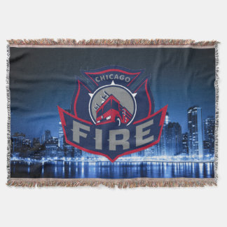 Chicago Fire With Skyline Throw Blanket