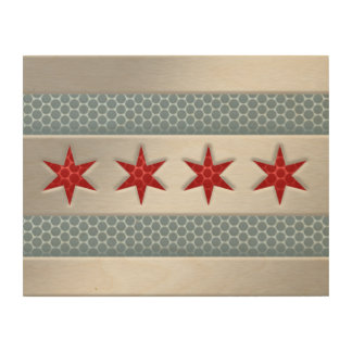 Chicago Flag Brushed Metal Faux Wood Canvas
