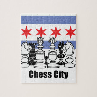 Chicago Flag & Chess Board Jigsaw Puzzle