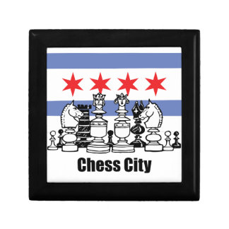 Chicago Flag & Chess Board Small Square Gift Box