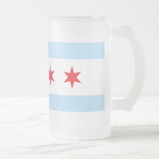 Chicago Flag Frosted Beer Mug
