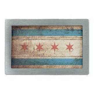 Chicago Flag on Old Wood Grain Belt Buckle