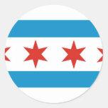 chicago flag round sticker