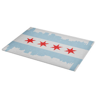 Chicago Flag Skyline Cutting Boards