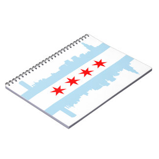 Chicago Flag Skyline Spiral Bound Notebook