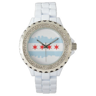 Chicago Flag Skyline Wrist Watch