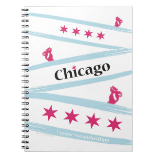 Chicago Flag Spiral Notebook with Pussycats for PP