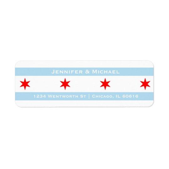 Chicago Flag Template | Red Stars | Blue Stripes Return Address Label