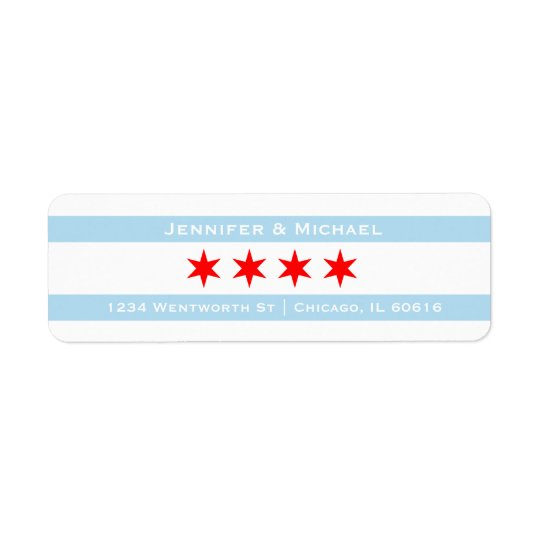 Chicago Flag Template   Red Stars   Blue Stripes Return Address Label