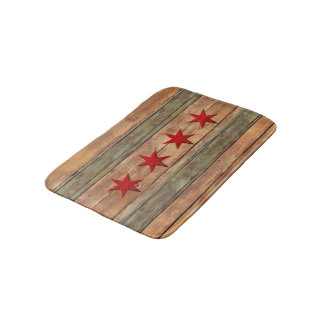 Chicago Flag Wood Carved Look Bath Mat
