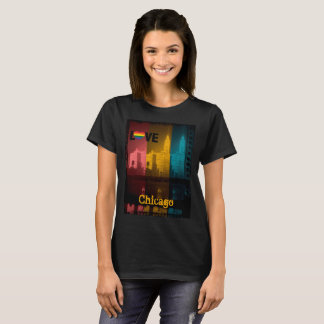Chicago Gay Lesbian Interest Rainbow Wrigley bldg T-Shirt