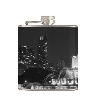 Chicago Grant Park Grayscale Hip Flask