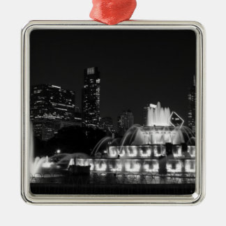 Chicago Grant Park Grayscale Metal Ornament