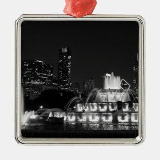 Chicago Grant Park Grayscale Silver-Colored Square Decoration