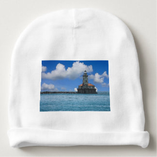 Chicago Harbor Lighthouse Painterly Baby Beanie