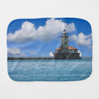 Chicago Harbor Lighthouse Painterly Burp Cloth