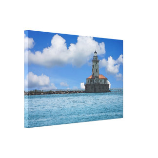 Chicago Harbor Lighthouse Painterly Canvas Print