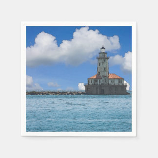 Chicago Harbor Lighthouse Painterly Disposable Serviette