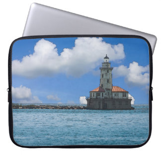 Chicago Harbor Lighthouse Painterly Laptop Sleeve