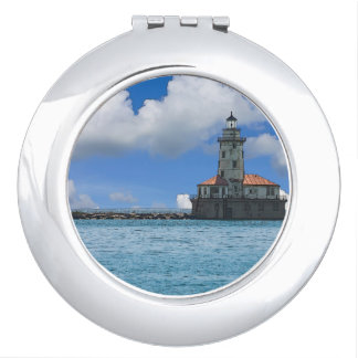Chicago Harbor Lighthouse Painterly Mirror For Makeup