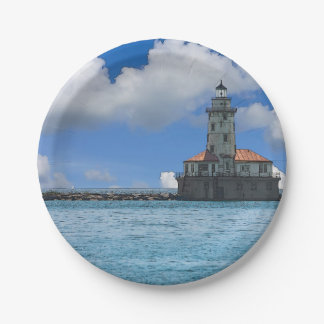 Chicago Harbor Lighthouse Painterly Paper Plate