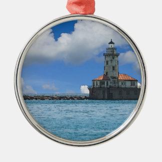 Chicago Harbor Lighthouse Painterly Silver-Colored Round Decoration