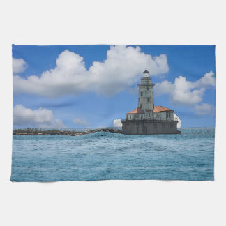 Chicago Harbor Lighthouse Painterly Tea Towel