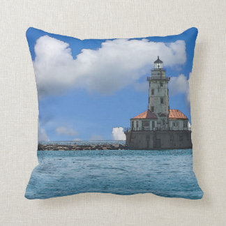 Chicago Harbor Lighthouse Painterly Throw Pillow