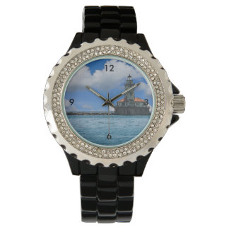 Chicago Harbor Lighthouse Painterly Wrist Watches