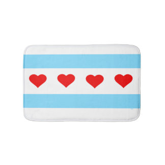 Chicago Heart Flag Bath Mat Bath Mats