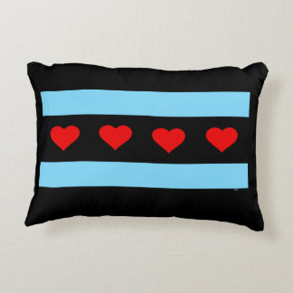 Chicago Heart Flag Pillow Accent Cushion