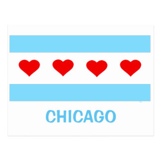 Chicago Heart Flag postcard