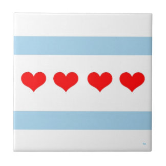 Chicago Heart Flag Tile