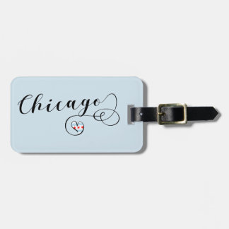 Chicago Heart Luggage Tag Template, Illinois