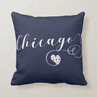 Chicago Heart Throw Pillow,  Illinois Cushion