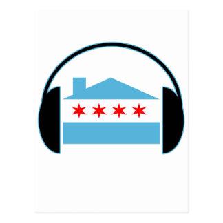 Chicago House Flag Headphones Postcard
