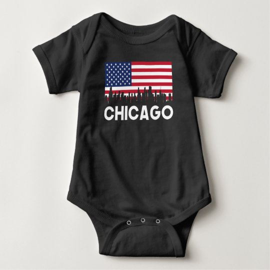 Chicago IL American Flag Skyline Baby Bodysuit