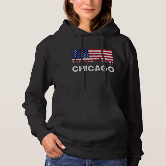 Chicago IL American Flag Skyline Distressed Hoodie