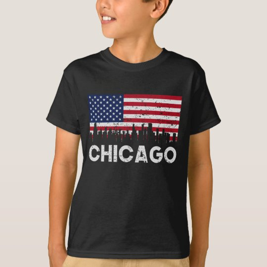 Chicago IL American Flag Skyline Distressed T-Shirt