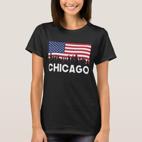 Chicago IL American Flag Skyline T-Shirt