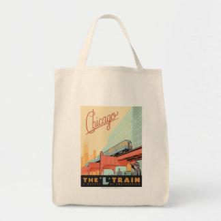 Chicago, IL - 'L' Train Grocery Tote Bag