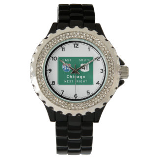 Chicago, IL Road Sign Wrist Watches