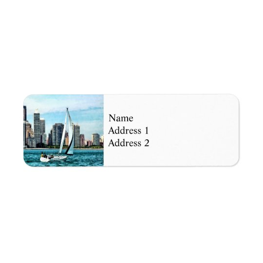 Chicago IL - Sailboat Against Chicago Skyline Return Address Label